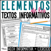 Elementos de textos informativos | Non-fiction Text Features Spanish Worksheets