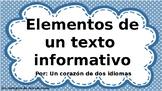 Elementos de un texto informativo-EDITABLES!!