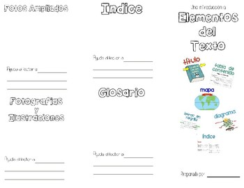 Elementos del Texto- Text Features - No Ficcion Folleto Brochure