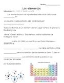 Elementos y tabla periódica- Periodic Table/ Elements Cloze Reading in Spanish