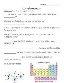 Cloze reading science teaching resources teachers pay teachers elementos y tabla peridica periodic table elements cloze reading in spanish urtaz