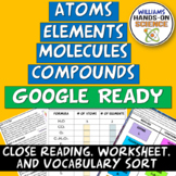 Elements, Atoms, Compounds and Molecules Card Sort, Worksheet and Close Reading