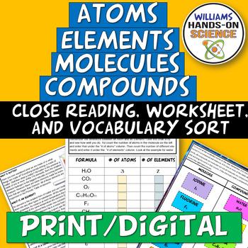 Ms Ps1 Elements Atoms Compounds Molecules Card Sort Worksheet