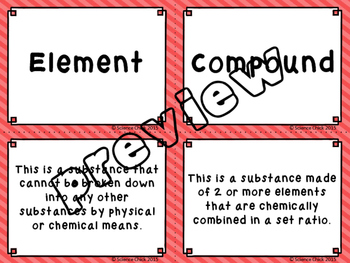 Elements, Compounds & Mixtures Card Sort