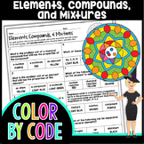 Elements, Compounds, & Mixtures Science Color By Number or Quiz