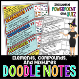 Elements, Compounds, and Mixtures Doodle Note for Science with PowerPoint & Quiz