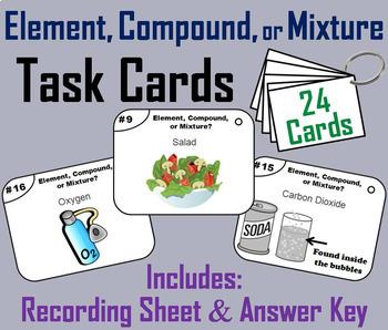 Elements Compounds Mixtures Task Cards and Activities Bundle