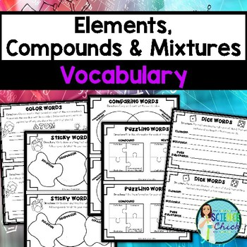 Elements, Compounds & Mixtures Vocabulary Activities