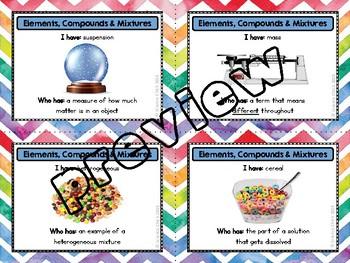 Elements, Compounds & Mixtures Vocabulary Activities