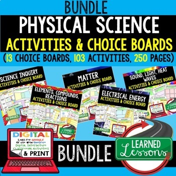 Elements, Compounds, Reactions Activities, Choice Board, Print, Google