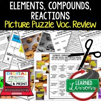 Elements, Compounds, Reactions Picture Puzzle Study Guide Test Prep