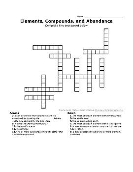 Elements, Compounds, and Abundance CrossWord