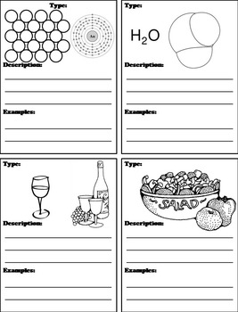 Matter Unit: Elements Compounds and Mixtures Interactive Notebook Activity