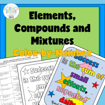 Elements, Compounds and Mixtures Color-by-Number