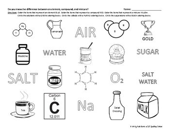 Elements, Compounds, and Mixtures Coloring Challenge