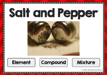 Elements, Compounds, and Mixtures - Digital Boom Cards™ Sort