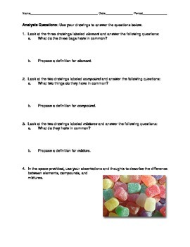 Elements, Compounds and Mixtures - Gumdrop Lab