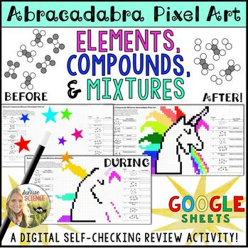 Elements Compounds and Mixtures Pixel Art Digital Review by Sunrise ...