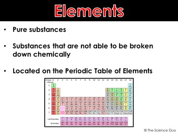 Elements, Compounds, and Mixtures - PowerPoint and Notes