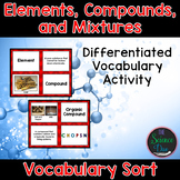Elements, Compounds, and Mixtures Vocabulary Sort