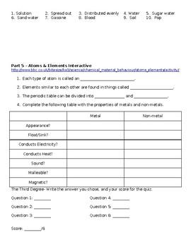Elements, Compounds, and Mixtures Webquest