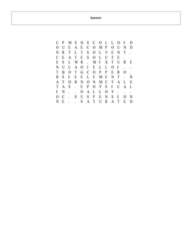 Elements, Compounds and Mixtures Word Search puzzle with key