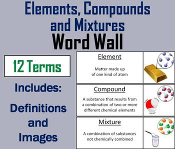 Elements Compounds and Mixtures Word Wall Cards