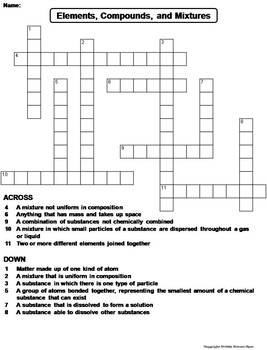 Elements Compounds And Mixtures Worksheet Crossword Puzzle By