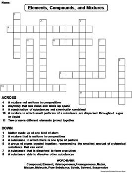 Elements Compounds and Mixtures Worksheet/ Crossword Puzzle