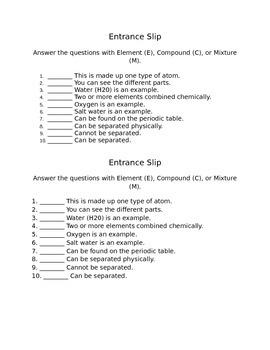 Elements Compounds and Mixtures entrance Slip