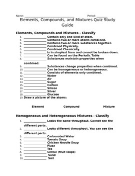 Elements, Compounds, and Mixtures study guide