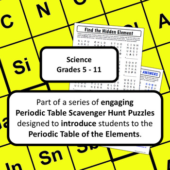 Periodic Table Of The Elements Scavenger Hunt Puzzle Find The Hidden Element