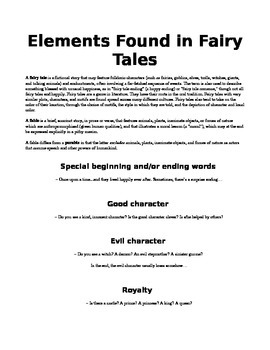 Elements Found in Fairy Tales