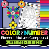 Elements, Compounds, and Mixtures - Color By Number - Classification of Matter