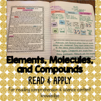 Elements Molecules Compounds Reading Comprehension Interactive Notebook