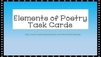 Elements of Poetry Task Cards