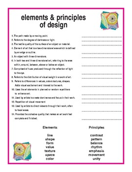 elements principles of design by thawk graphics tpt