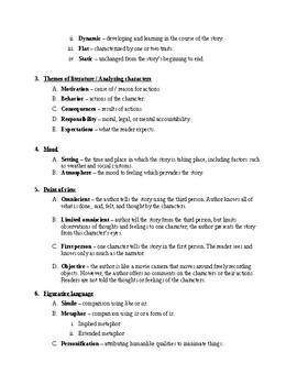 Elements Short Stories Notes