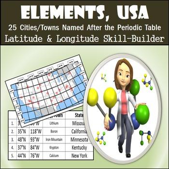 Latitude & Longitude Activity - Elements, USA
