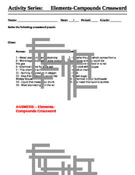 Elements and Compounds Crossword - Activity Series