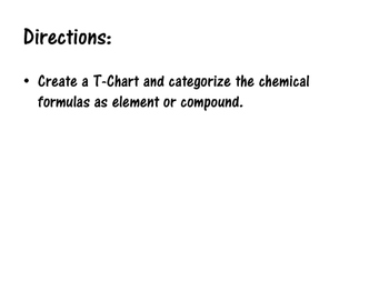 Elements and Compounds T-Chart