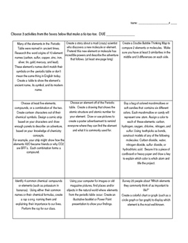 Elements and Molecules Tic-Tac-Toe Choice Board