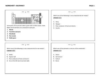 Periodic Table of Elements Worksheet One in Many Ways