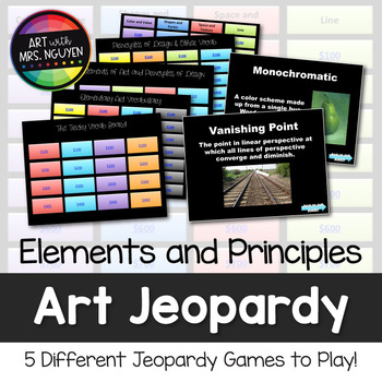 Elements and Principles Art Vocabulary Scavenger Hunt and Jeopardy Game (Vol. 2)