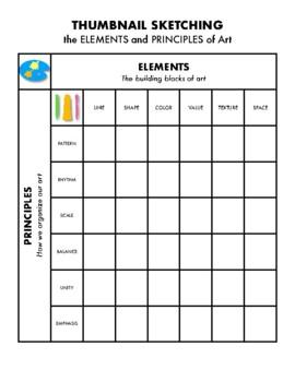 Elements and Principles Thumbnail Sketching