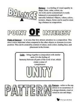 Elements and Principles of Art Handout and Poster