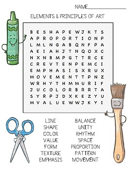 Elements and Principles of Art Word Search