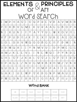 Elements and Principles of Art Word Search FREE