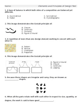 Elements and Principles of Design TEST
