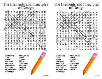 Elements and Principles of Design Word Search US spelling